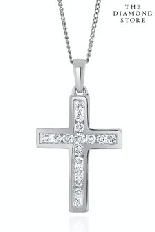 The Diamond Store Lab Diamond Cross Necklace Channel Set 0.25ct H/Si