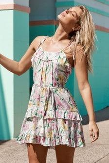 Lipsy Tropical Tier Hem Ruffle Cami Dress