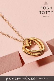 Personalised Interlinking Hearts Necklace 18ct Yellow Gold Plate