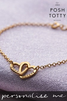 Personalised Double Heart Names Bracelet 18ct Yellow Gold Plate