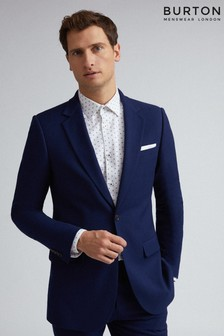 Burton Skinny Fit Blue Texture Suit Jacket