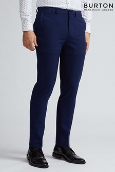 Burton Skinny Fit Blue Texture Suit Trousers