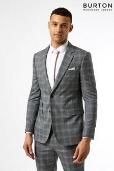 Burton Skinny Fit Fine Check Suit Jacket