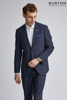 Burton Tailored Fit Navy Tonal Check Suit Jacket
