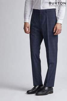 Burton Tailored Fit Navy Tonal Check Suit Trousers