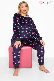 Yours Curve Spotted Fleece Lounge Set