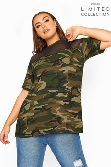 Yours Limited Collection Camo Mesh Insert Top