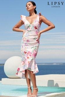 Lipsy Ruffle Hem Midi Dress