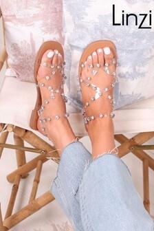 Linzi Smitten Perspex Gladiator Trim Sandal