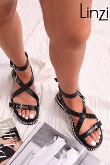 Linzi Luxe Texas Trim Sole Mock Croc Buckle Strap Sandal