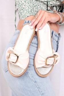 Linzi Luxe Amaya Ruched Chunky Buckle Trim Slider Sandal
