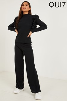 Quiz Ribbed High Waist Palazzo Trousers