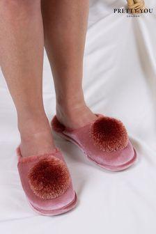 Pretty You London Coco Pom Pom Slippers