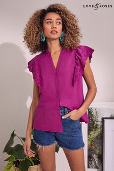 Love & Roses Broderie Ruffle Blouse