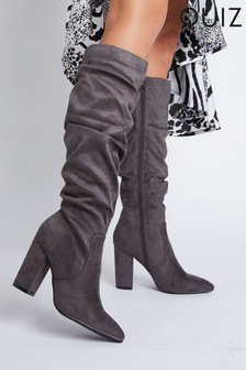 Quiz Faux Suede Rouched High Knee Boots