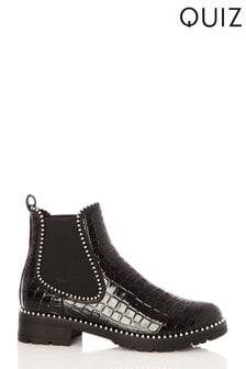 Quiz Croc Stud Detail Ankle Boots