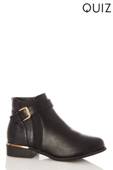 Quiz Black Faux Leather Buckle Detail Ankle Boot