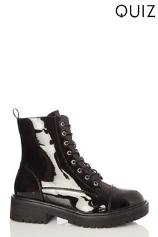 Quiz Black Patent Lace Up Military Boot