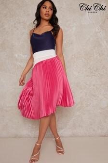 Chi Chi London Satin Pleated Midi Cami Dress in Multi
