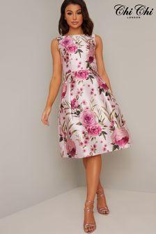 Chi Chi London Floral Jacquard Midi Dress