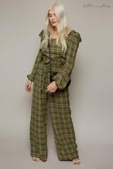 Little Mistress Ebury Check-Print Paperbag Trousers