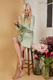 Little Mistress Elysee Sage Satin Mini Shift Dress