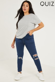 Quiz Curve High Waist Ripped Skinny Jeans