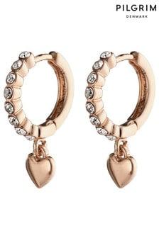 PILGRIM Sophia Crystal Hoop Earrings with Heart Drop