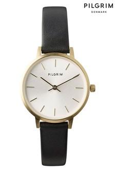 PILGRIM Plated Nerine Leather Strap Watch