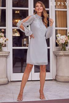 Lipsy Hand Embellished Long Sleeve Shift Dress