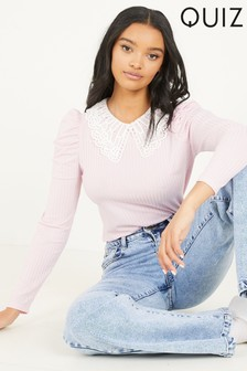 Quiz Ribbed Puff Sleeve Collared Blouse