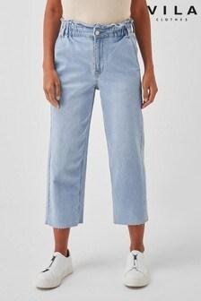 Vila High Rise Cropped Straight Leg Jean