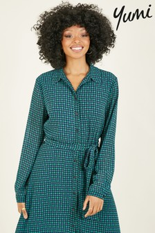 Yumi Geometric Print Long Sleeve Eilidh Shirt Dress
