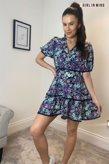 Girl In Mind Lana Crochet Tier Detail Mini Dress