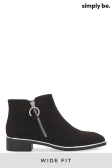 Simply Be Wide Fit Outside Zip Flat Ankle Boot