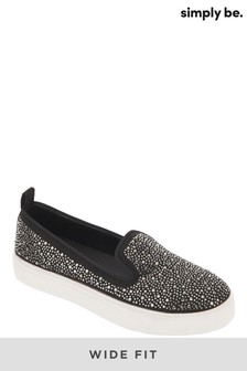 Simply Be Wide Fit Heat Sealed Studded Slip On