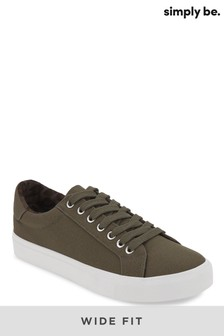 Simply Be Wide Fit Canvas Trainer With Printed Lining