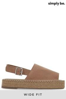 Simply Be Slingback Flatform Sandal Wide Fit