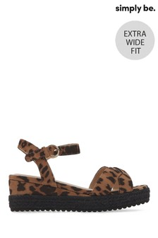 Simply Be Strasbourg Leopard Print Espadrill Extra Wide Fit