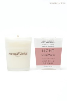 AromaWorks Light Range Amyris and Orange 10cl Candle