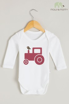 Molly & Monty Organic Red Tractor Long Sleeve Bodysuit