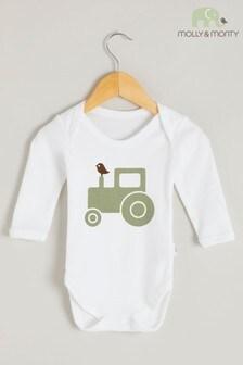 Molly & Monty Organic Green Tractor Long Sleeve Bodysuit