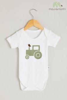 Molly & Monty Organic Green Tractor Short Sleeve Bodysuit