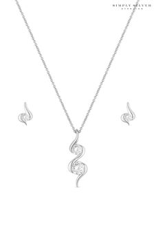 Simply Silver Cubic Zirconia Wrapped In Love Set  Gift Boxed