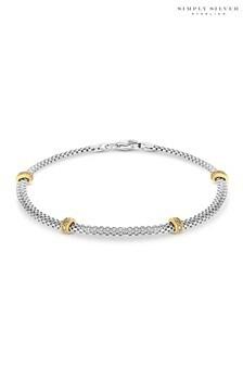 Simply Silver Cubic Zirconia 2Tone Mesh Station Bracelet