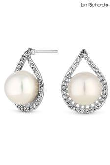 Jon Richard Large Pearl Encased Cubic Zirconia Earrings