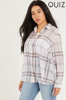 Quiz Curve Chiffon Check Shirt