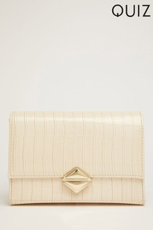 Quiz Faux Croc Across Body Bag With Chunky Chain Detailing