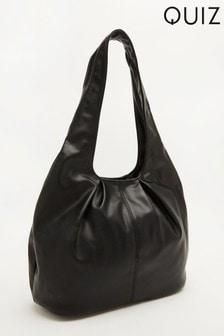 Quiz Faux Leather Gathered Shoulder Bag