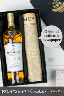 Personalised Macallan Double Cask Gold Whisky and Newspaper Gift by Signature Book Publishing